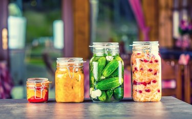 Probiotic foods like pickles jars, white cabbage.