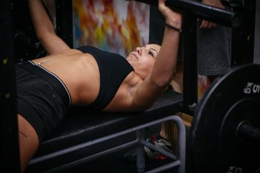 Strong blonde woman