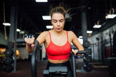 One woman training