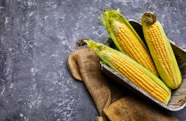 Corn in wooden basket on concrete surface