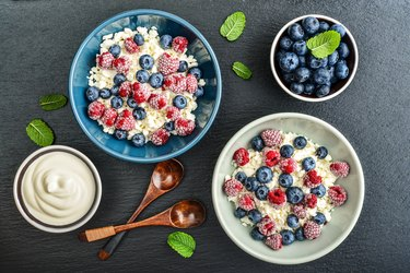 Cottage cheese with fresh blueberries and raspberries.