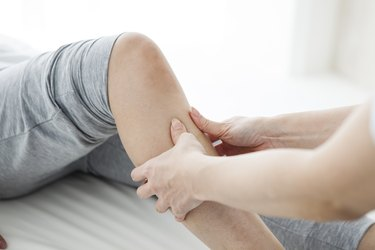 Women have been massaging the foot in the gym