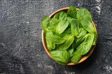 Fresh mint leaves. Top view