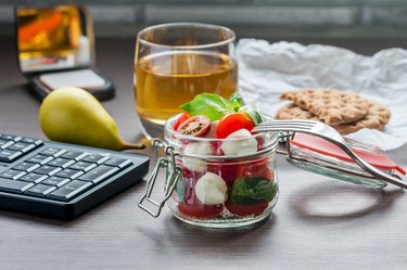 Healthy snacks pear caprese salad tea at work
