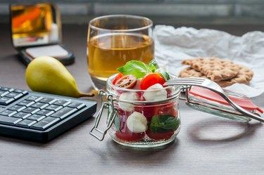 Healthy snacks pear caprese salad tea at work