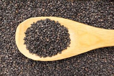 Directly Above Shot Of Black Sesame Seeds