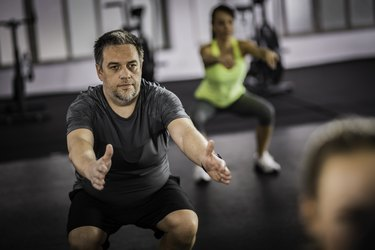 Man over 50 doing HIIT workout