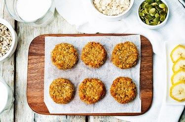 oats pumpkin and sunflower seeds banana cookies