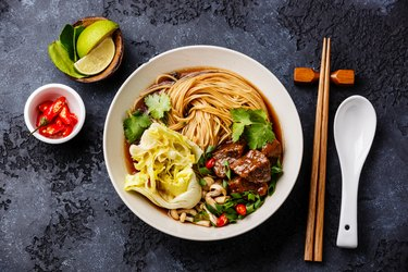 Spicy noodles in broth with Beef