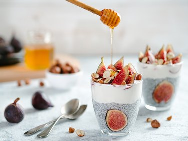 chia pudding with yogurt, figs, nuts, honey