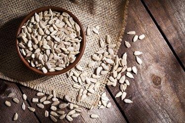 Organic sunflower seeds still life