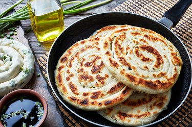 close-up of  hot Chinese green onion Pancakes