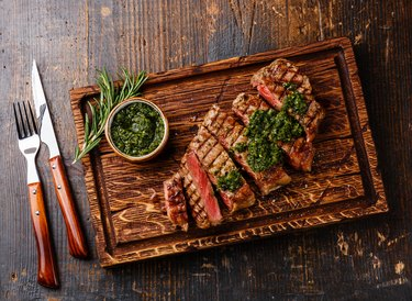 Sliced Sirloin steak with chimichurri sauce