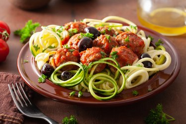 zoodles zucchini noodles low carb pasta with meatballs and olives