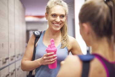 Woman after hard training at the gym