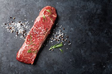 Raw striploin steak