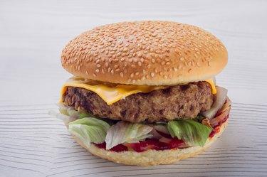 fresh tasty burger on white background