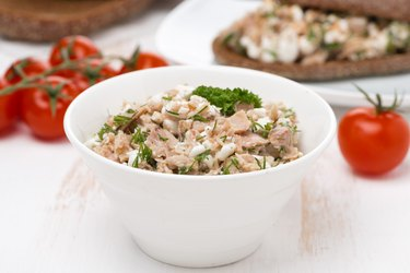 pate with canned tuna, homemade cheese and herbs
