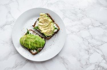 Avocado toasts on rye bread