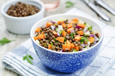 zinc-rich green lentils with carrots celery salad