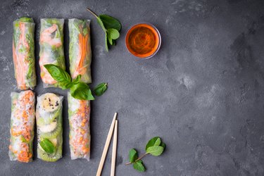 Fresh assorted spring rolls