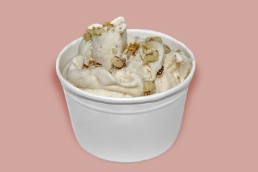 Low-carb ice cream with nuts in a cup