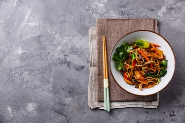 Udon stir fry noodles with Chicken meat