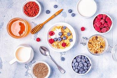 Healthy breakfast, muesli, cereal with fruit