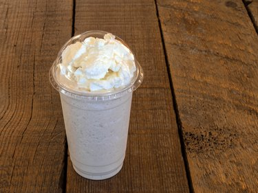 Vanilla Frappe blended ice coffee beverage.