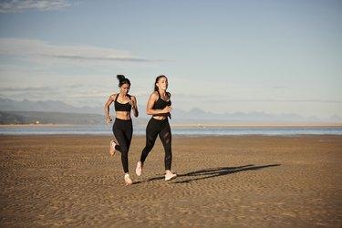 Females running on beach