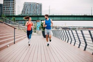 Couple running marathon