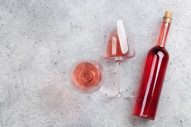 Rose wine bottle and glass