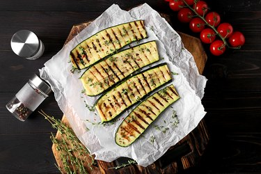 Tasty grilled zucchini on parchment
