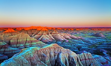 Sunset at The Wall, Badlands National Park, South Dakota.