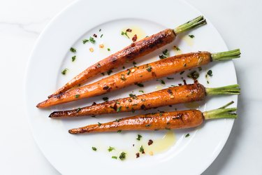 High Angle View Of Carrots In Plate