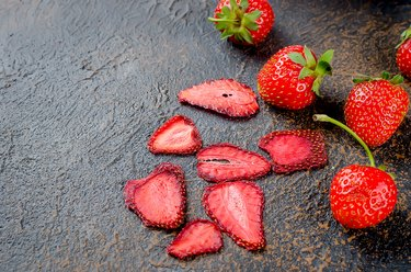Ripe juicy Strawberry, fruit dry chips and strawberryes pastille