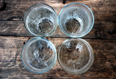 Top view of four glasses