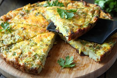 Italian Frittata with slices of fresh greens