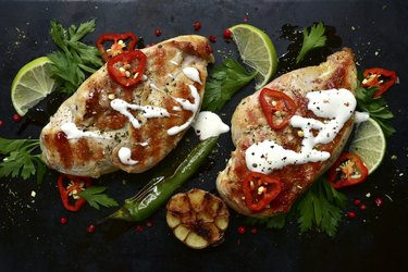 Grilled chicken breasts with spices