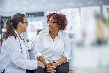 Middle-aged woman visiting the doctor