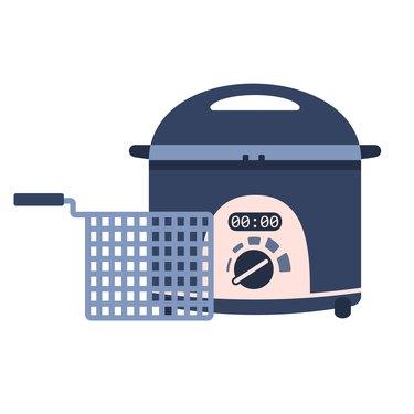 Flat vector fryer icon, deep frying machine