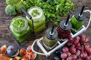 Detox with fresh vegetables juice and healthy fruits juice.