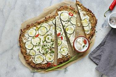 zucchini recipes pizza crust with zucchini, cream cheese and spring onion .