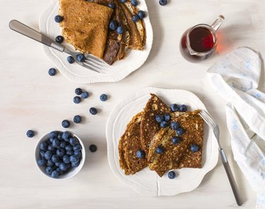 Crepes with blueberries and maple syrup