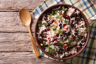 Rice with red beans and vegetables. horizontal top view