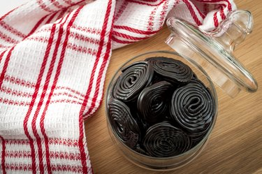 top view of a glass jar filled with licorice wheels