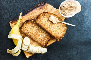 Pre-workout meal of whole wheat toast with peanut butter and a banana
