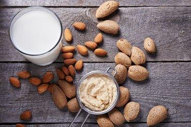 almond milk in bottle