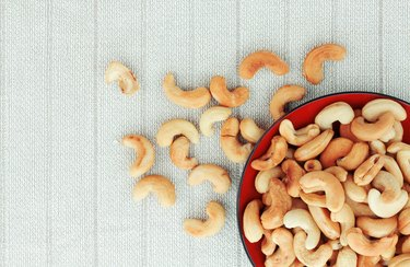 Directly Above Shot Of Cashew Nuts In Bowl