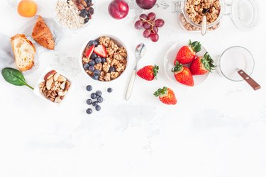 Healthy breakfast with with oatmeal protein shake